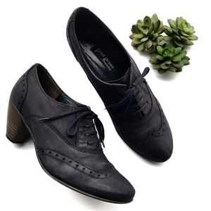 Paul Green Leather Kelsey Lace up Heeled Oxfords